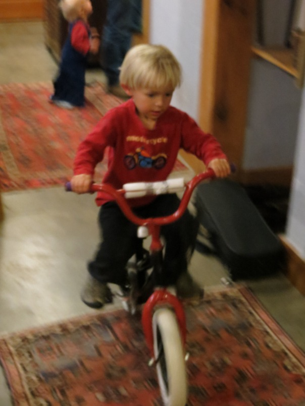 He even rides it in the house (where you really do need a helmet).