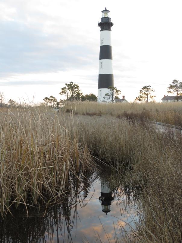 Bodie Island light reflected in the salt marsh